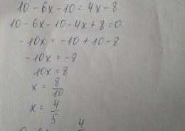Как решить уравнение 10 — 2(3x + 5)=4(x — 2)?