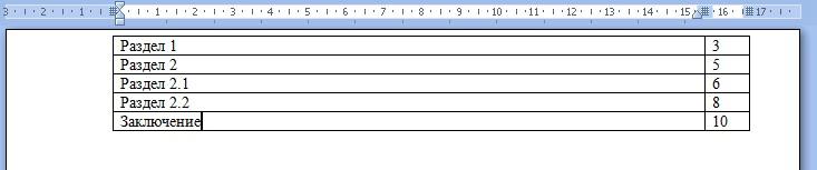 Выставляем названия разделов и номера страниц