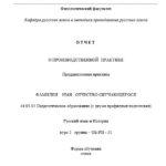 Отчет по преддипломной практике по русском языку