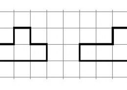 Сможете помочь? Нарисуйте на клетчатой бумаге два многоугольника с одинаковой площадью и периметром но не равную между собой.