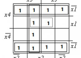 Записать МДНФ по рисунку, карта Вейча. F' (x4, x3, x2, x1) =