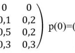 Рассматривается система с дискретными состояниями и дискретным временем (цепь Маркова). Задана матрица перехода за один шаг. Требуется: а) построить размеченный граф состояний; б) Найти распределение вероятностей для первых двух шагов, если известно, что в начальный момент времени ( t_0=0) cистема находилась в j–ом состоянии с вероятностью p_j(0).